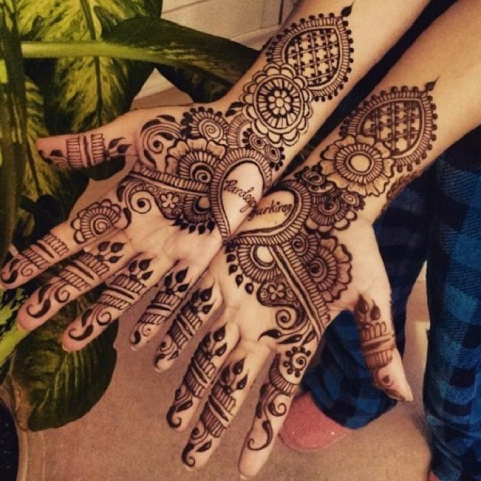 Mehndi Designs with name for Karwa chauth